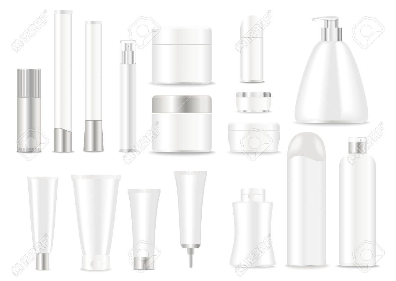 Blank cosmetic tubes on white background. White and silver colors. Place for your text. Vector - 45316769