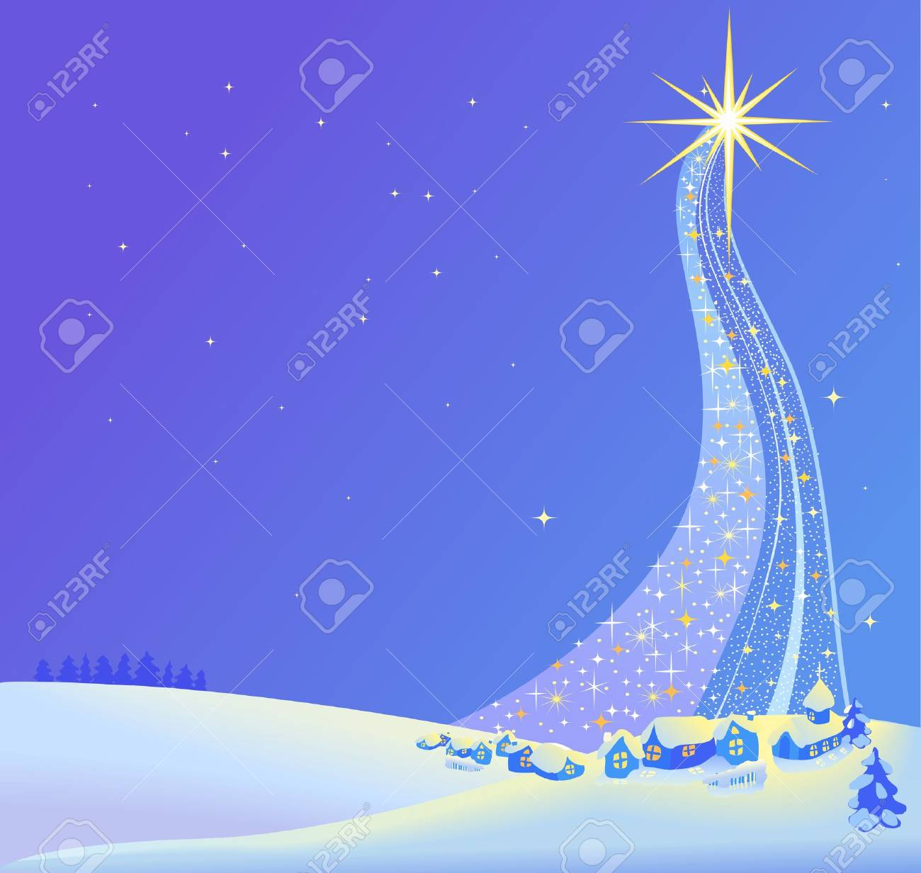 A Christmas Nativity landscape illustration of the star. Vector - 46659555