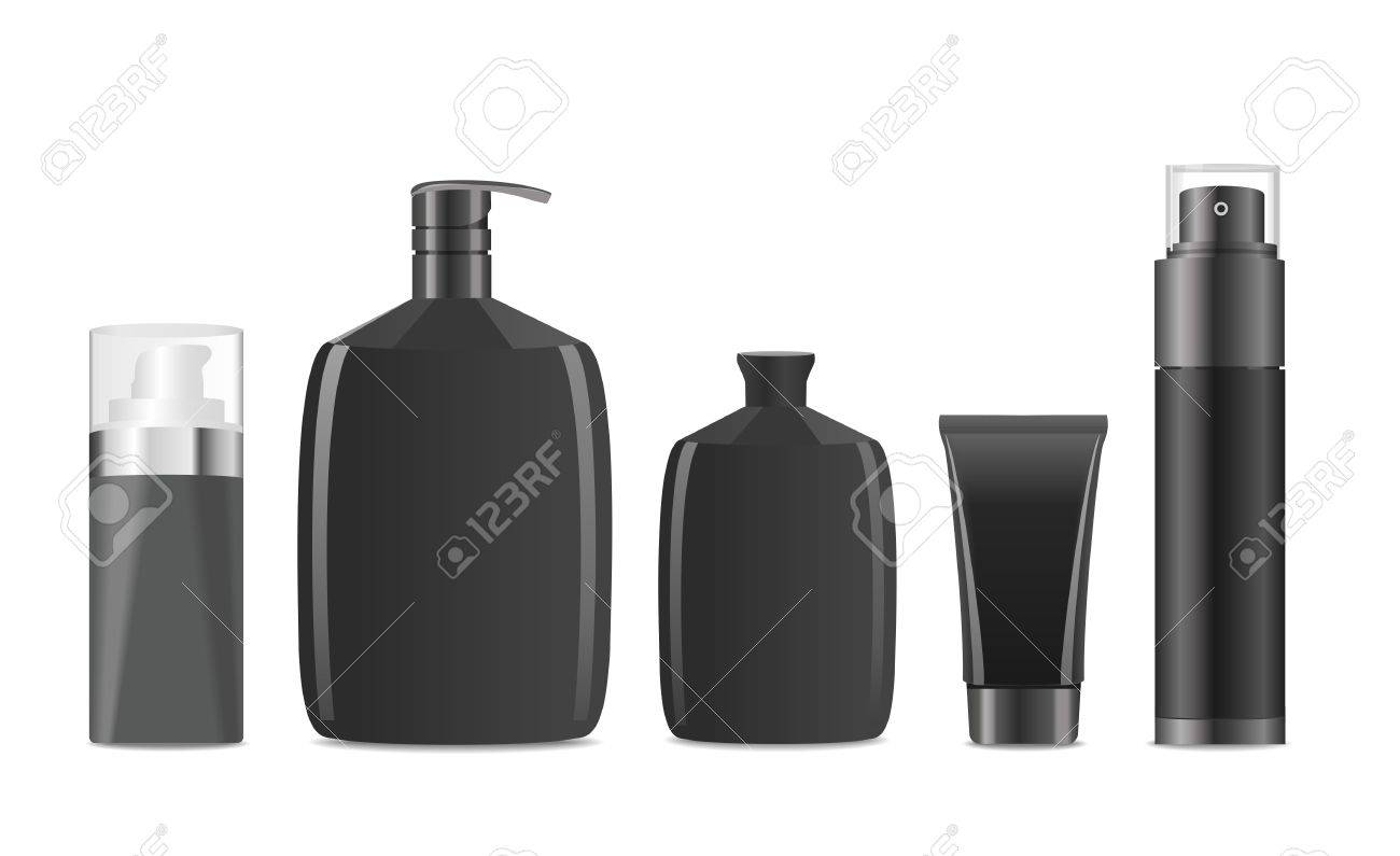 Collection of blank black men cosmetic tubes. Vector illustration - 46775222