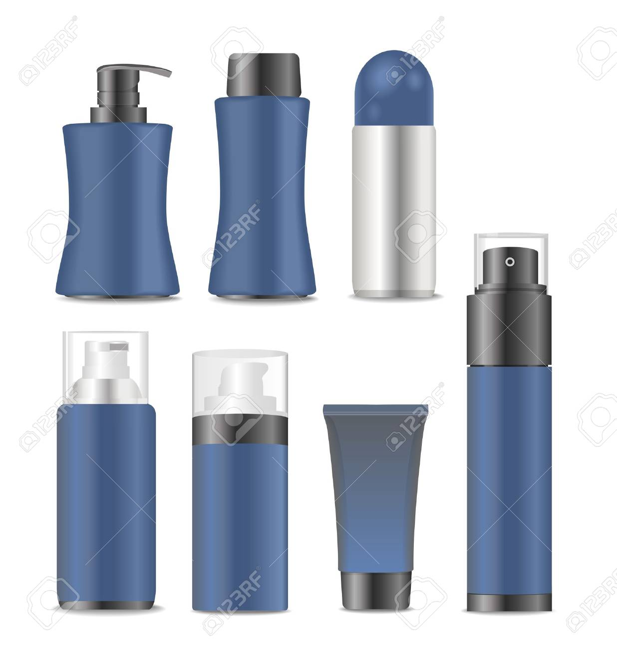 Collection of blank blue men cosmetic tubes. Vector illustration - 47012586