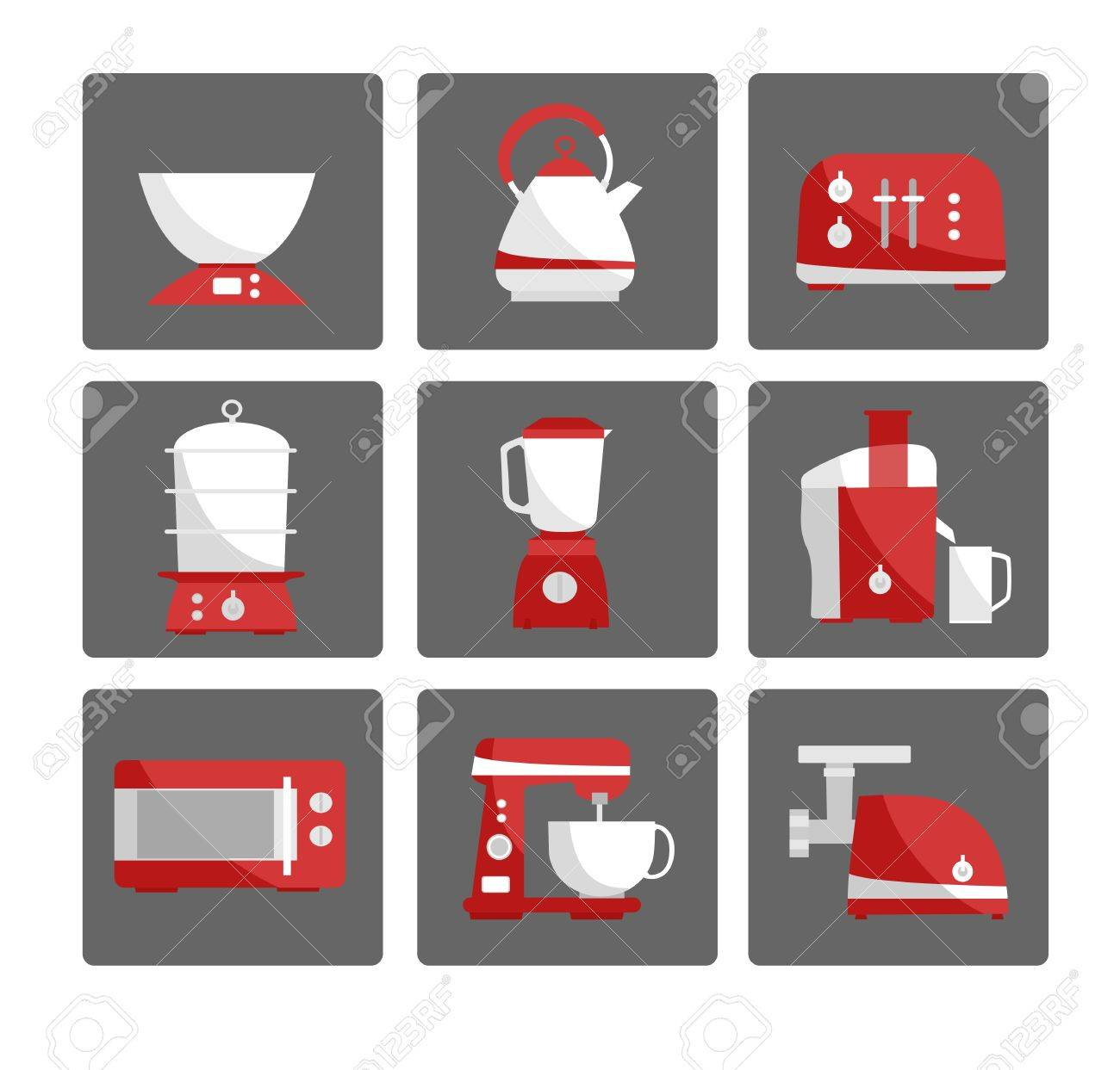 Nine Kitchen Appliances Set Simple Flat Design White And Red