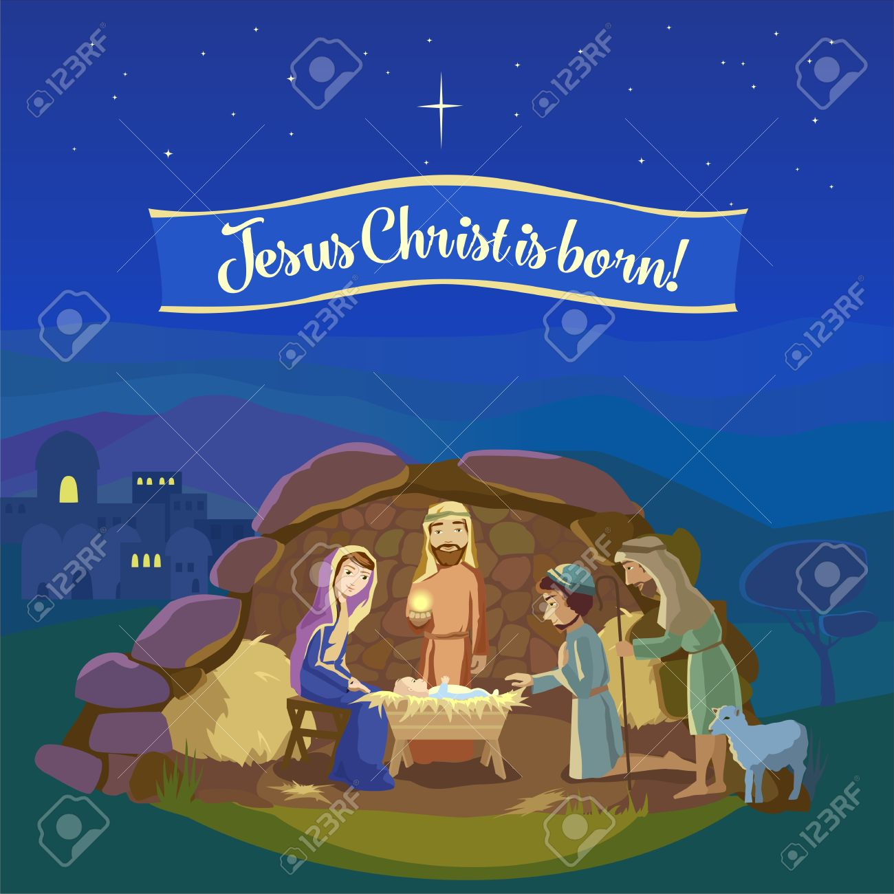 Christmas night. Birth of Jesus Christ in Bethlehem. Josef, Mary and the Baby in the manger. Shepherds came to worship the King. - 48929798