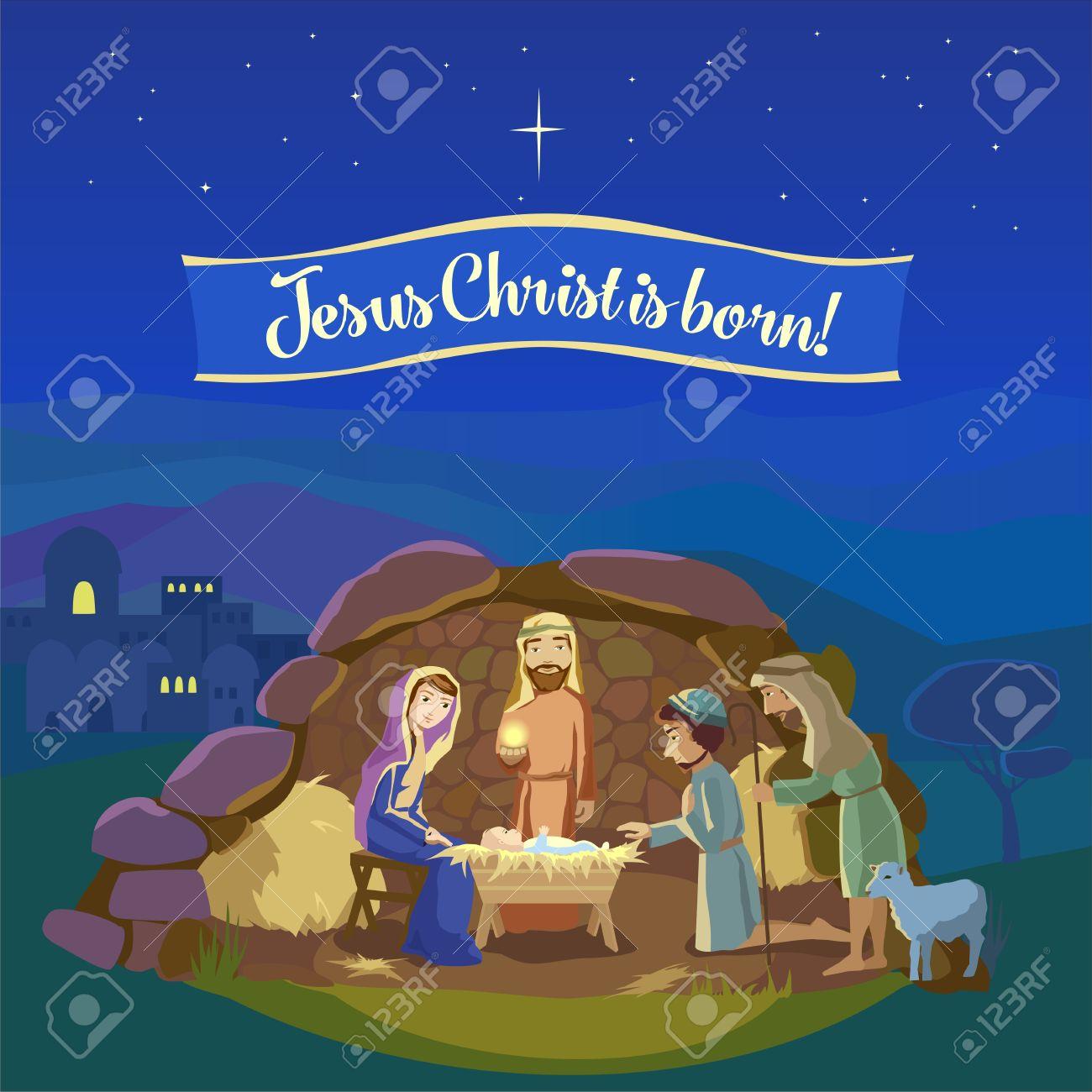 Weihnachten Nacht. Geburt Von Jesus Christus In Bethlehem. Josef ...