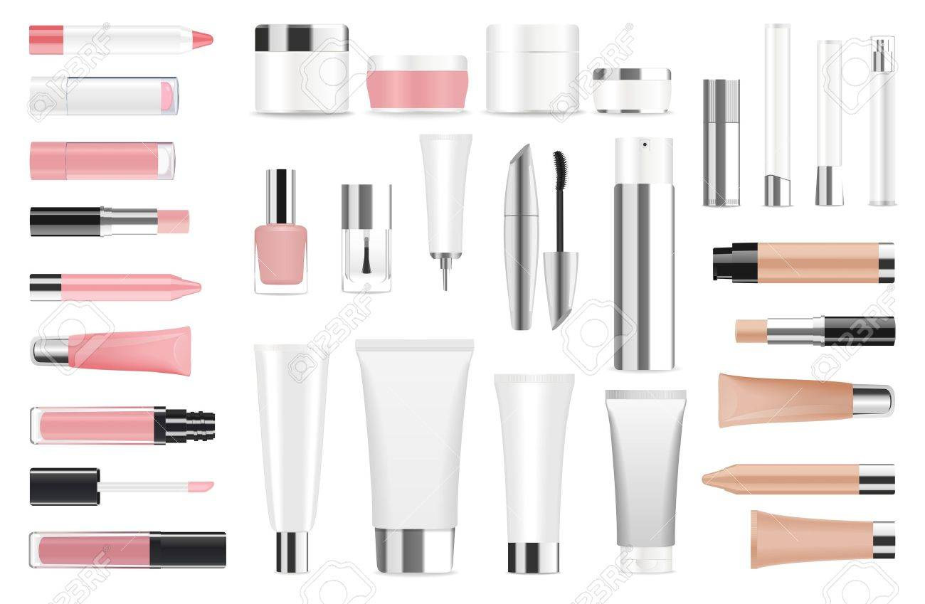 Super big set of detailed cosmetic tubes isolated on white. Place for your text. Vector - 50772618