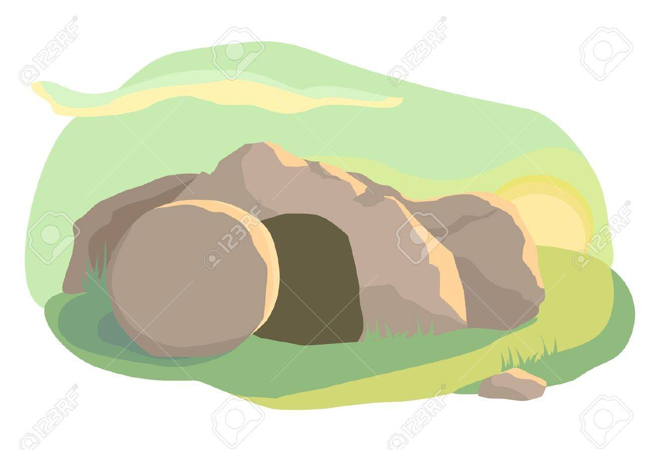 Easter illustration of opened empty cave. Morning light. Vector - 52899590