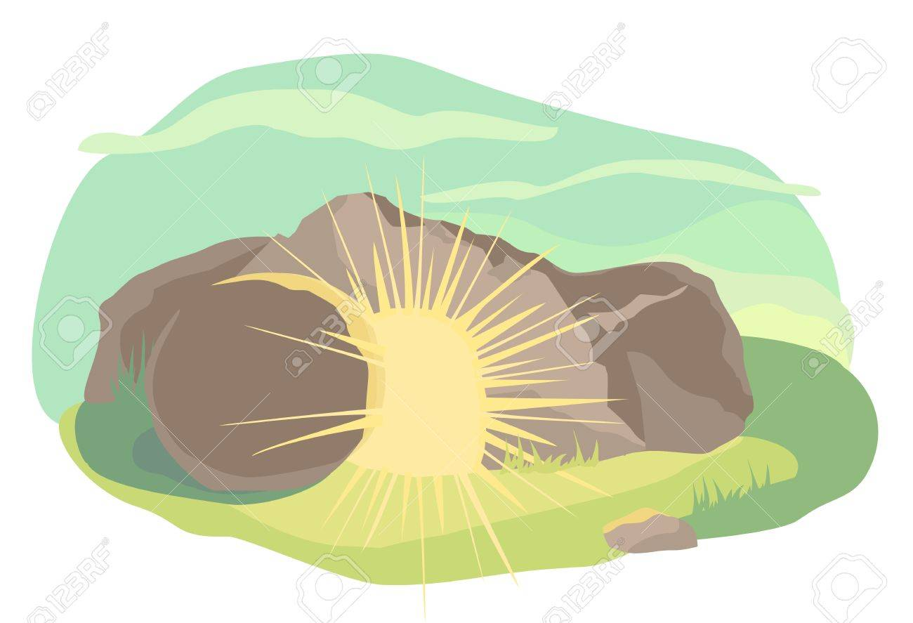 Easter illustration of opened cave with light inside. Morning light. Vector - 52899592