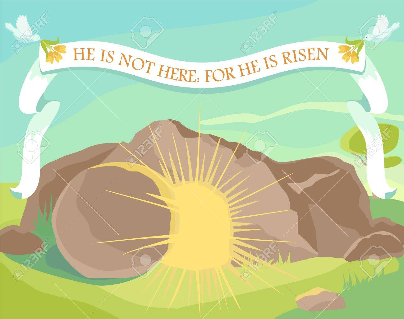 Easter illustration of opened cave with light inside. White ribbon with text: He is not here: for He is risen. Sunday morning. Vector - 52899591