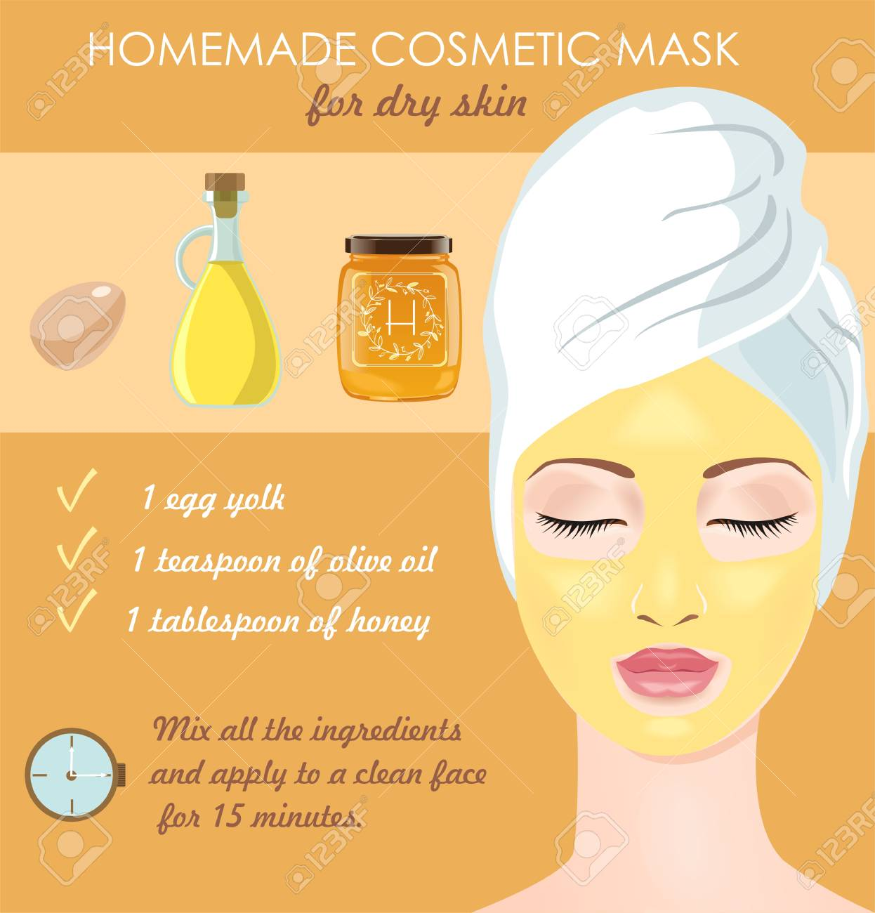 Homemade Cosmetic Mask For Dry Face Skin Egg Yolk Olive Oil Royalty Free Cliparts Vectors And Stock Illustration Image 54271936