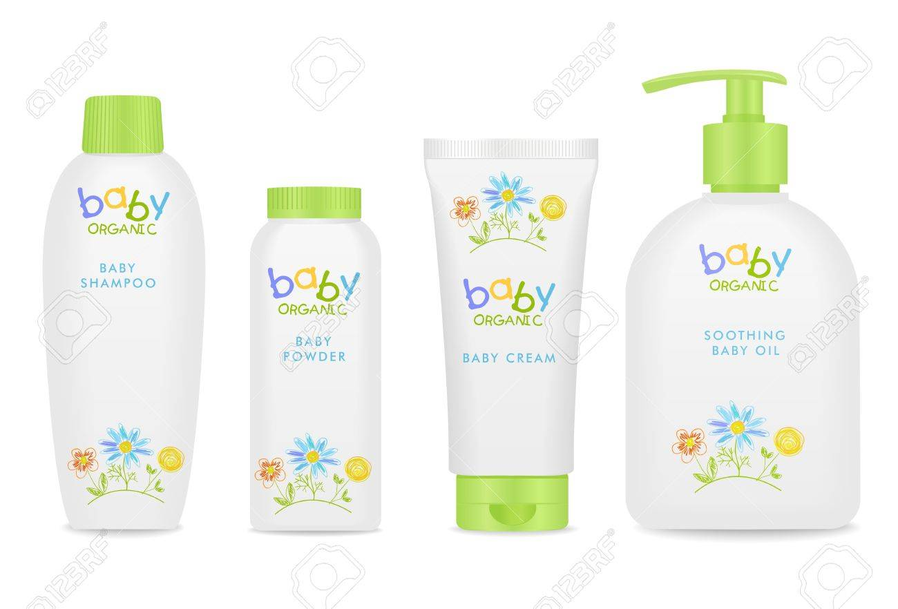 Four colorful baby cosmetic tubes. Pretty kids design. White and green colors. - 55629636