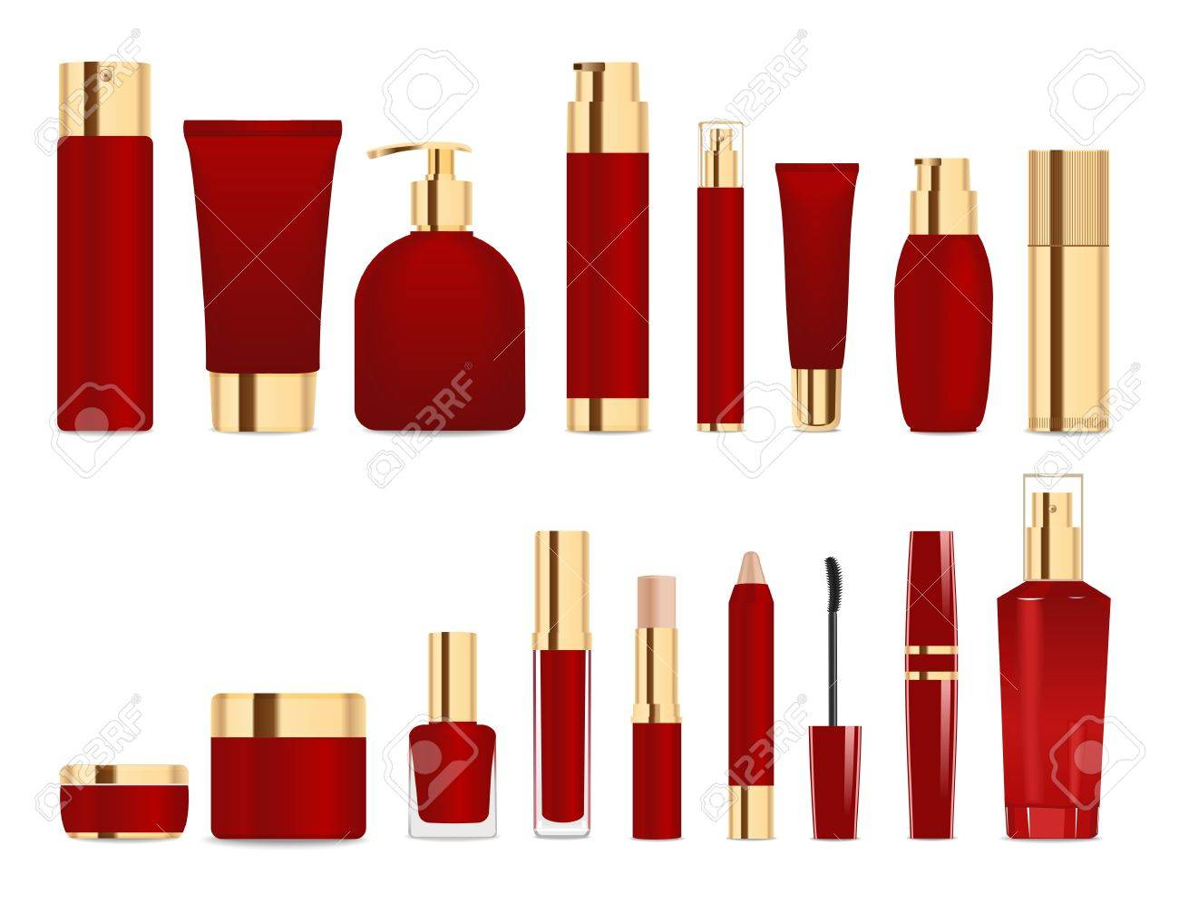 Set of cosmetic tubes isolated on white. Gold and dark red colors. Place for your textVector - 59697991