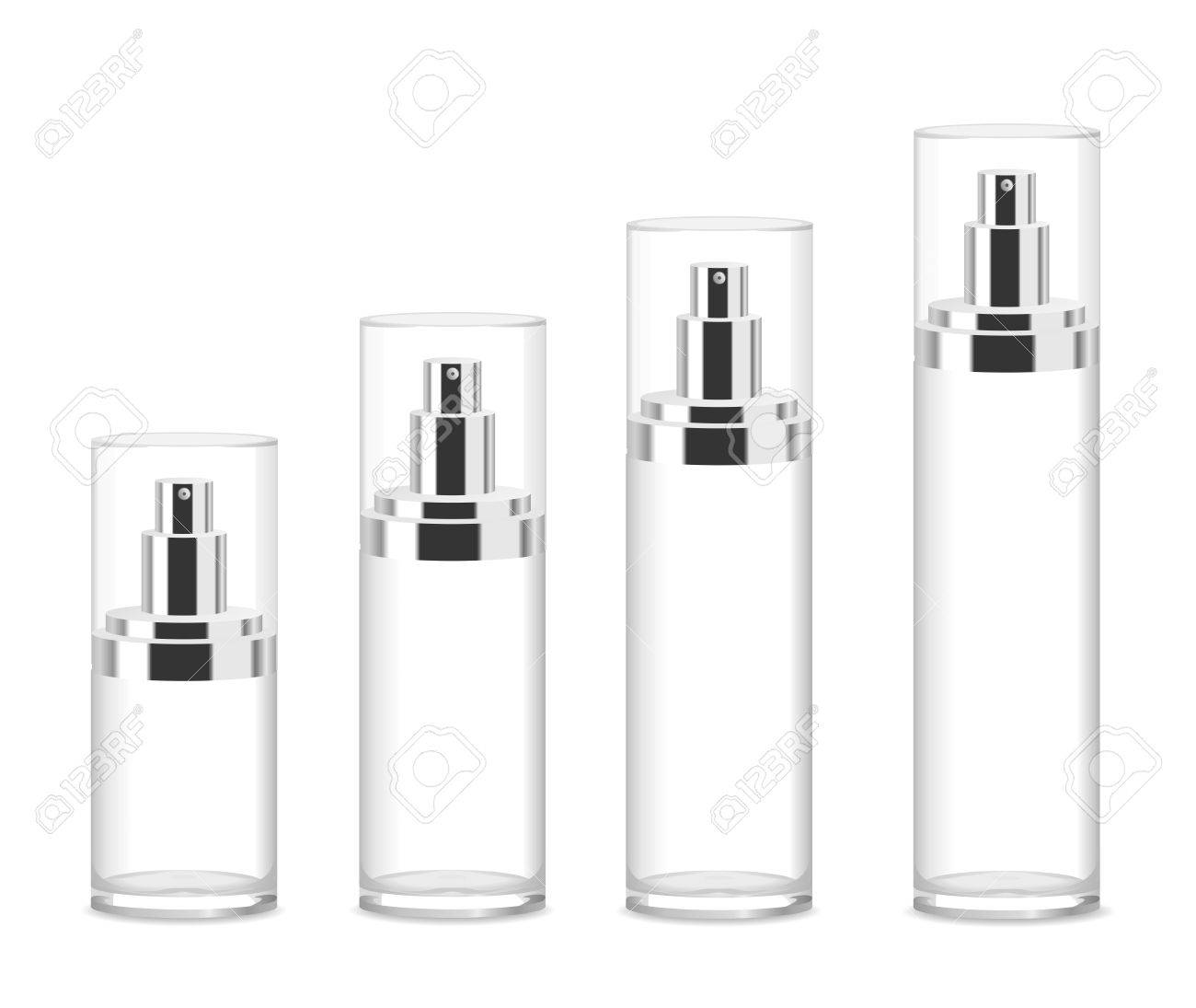Four transparent acrylic cosmetic bottles isolated on white. Different sizes. Place for your text. Detailed vector illustration - 59782872