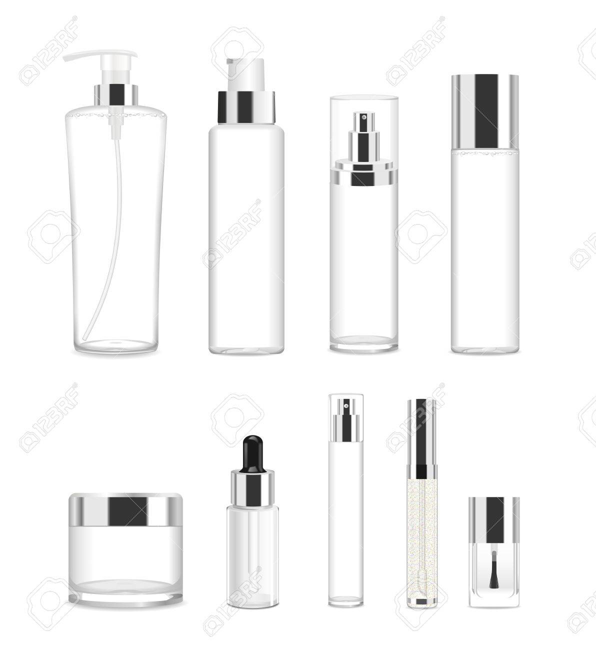 Collection of nine cosmetic acrilic or glass tubes isolated on white. Silver and white colors. Modern design. Place for your text. Detailed vector illustration - 62621239