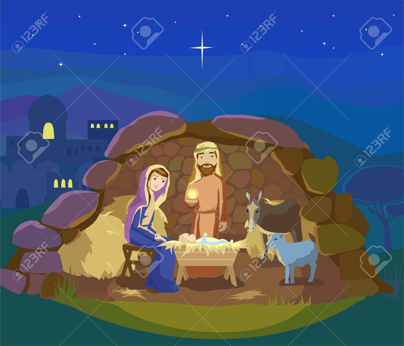 Christmas night. Birth of Jesus Christ in Bethlehem. Josef, Mary and the Baby in the manger. Sheep and donkey are looking at the King. Vector illustration - 69220795
