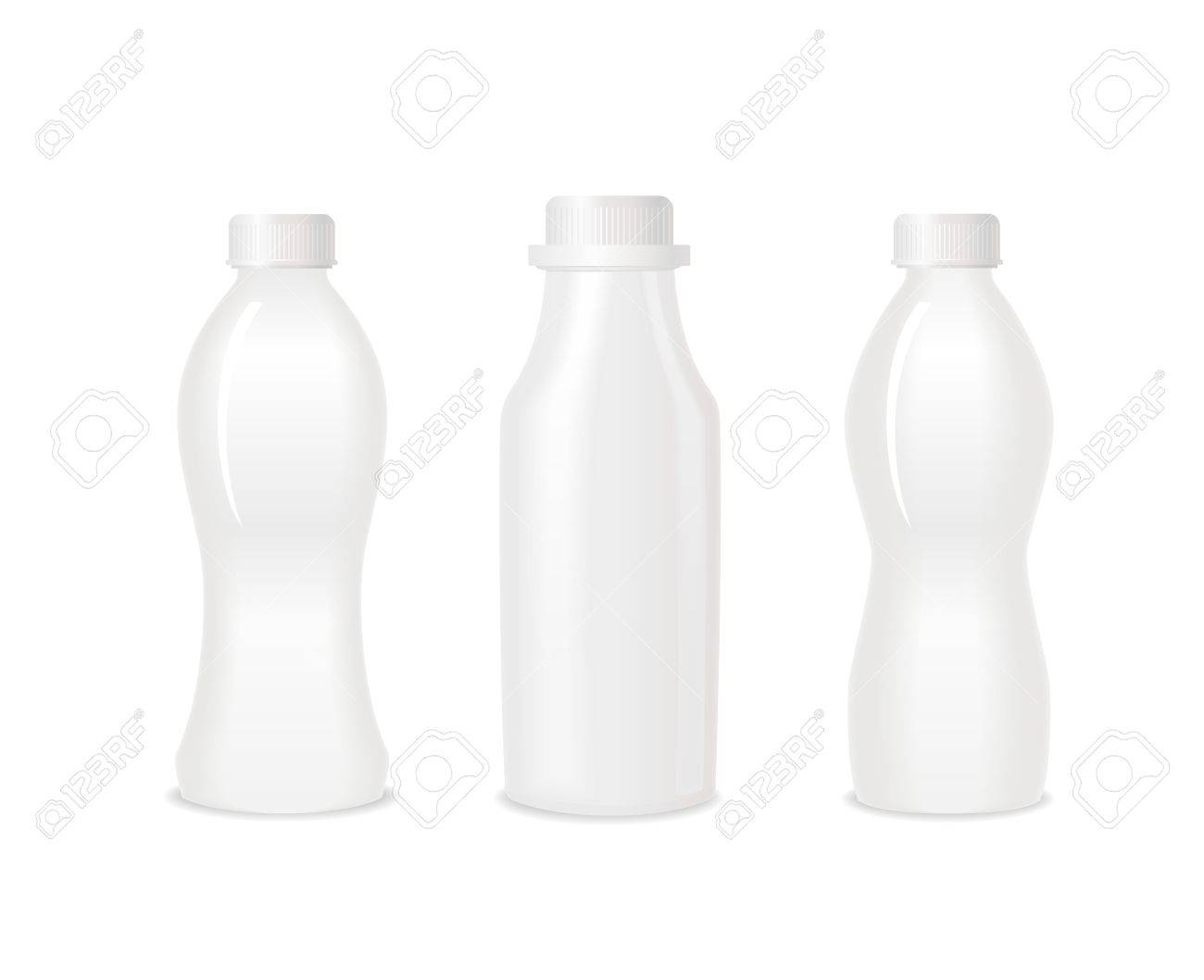 Set of three blank white bottles for milk or yogurt. Different shapes. Ready For Your Design. Vector - 69775825