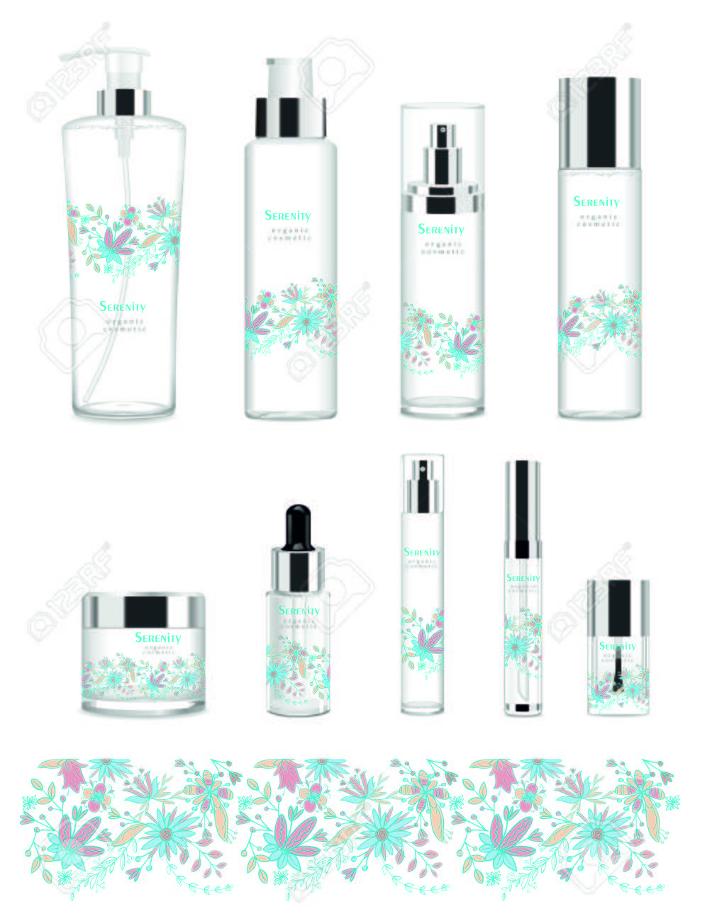 Set of nine transparent cosmetic tubes with design. Vector - 71564521