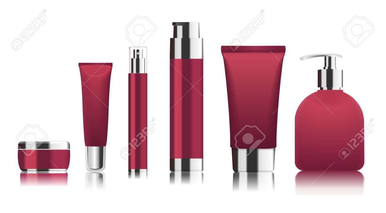Red cosmetic tubes. Vector - 71564947