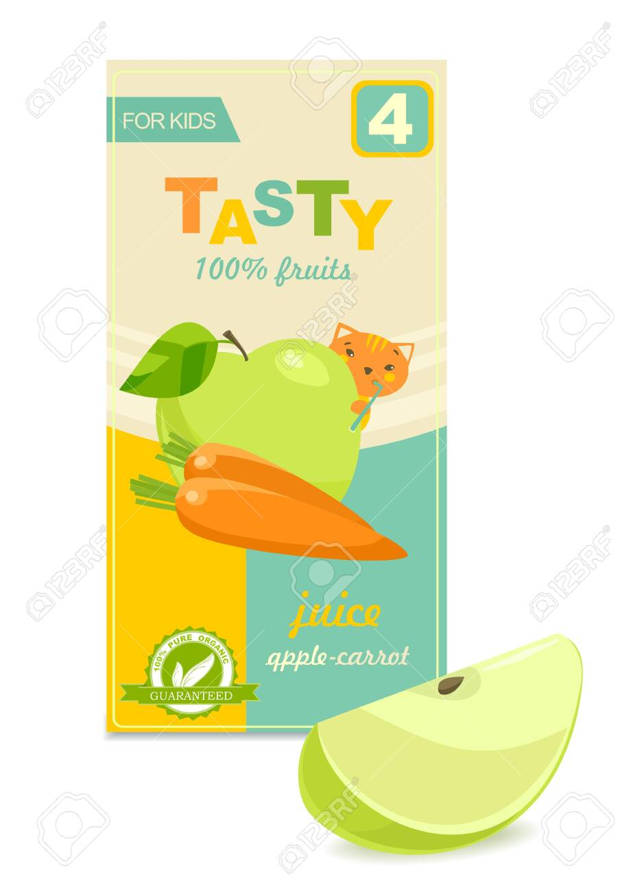 Colorful baby juice pack, slice of apple. Vector - 129336761