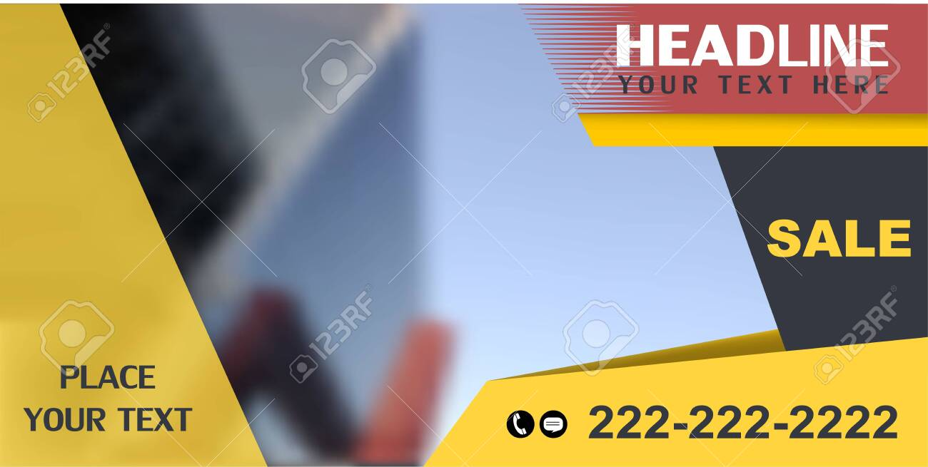 Horozontal web banner, vector. Universal design for advertising business, traveling, transport, etc. Place for photo. - 137826980