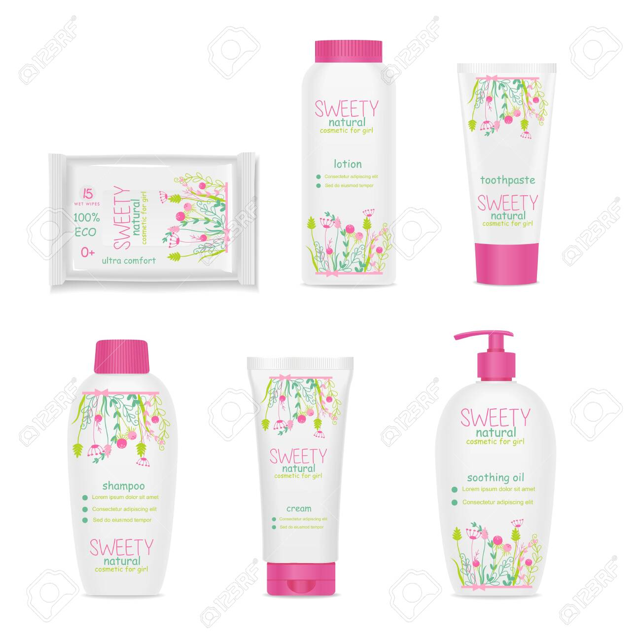 Set of white girl cosmetic tubes with colorful kids design. Pink caps, floral ornament. Vector - 137831163