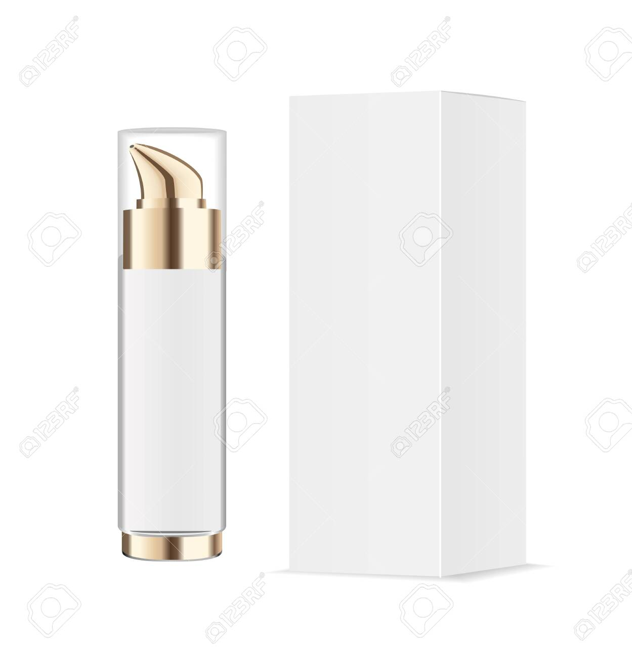 Realistic transparent cosmetic bottle with pump dispenser. White paper package. Vector - 137834645