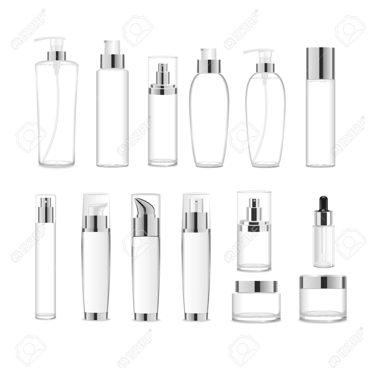 Group af transparent acrylic cosmetic packages. Vector - 139804224