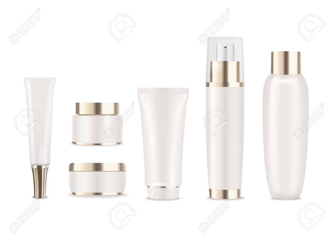 Set of pearl cosmetic packages with gold caps. Vector - 137968812
