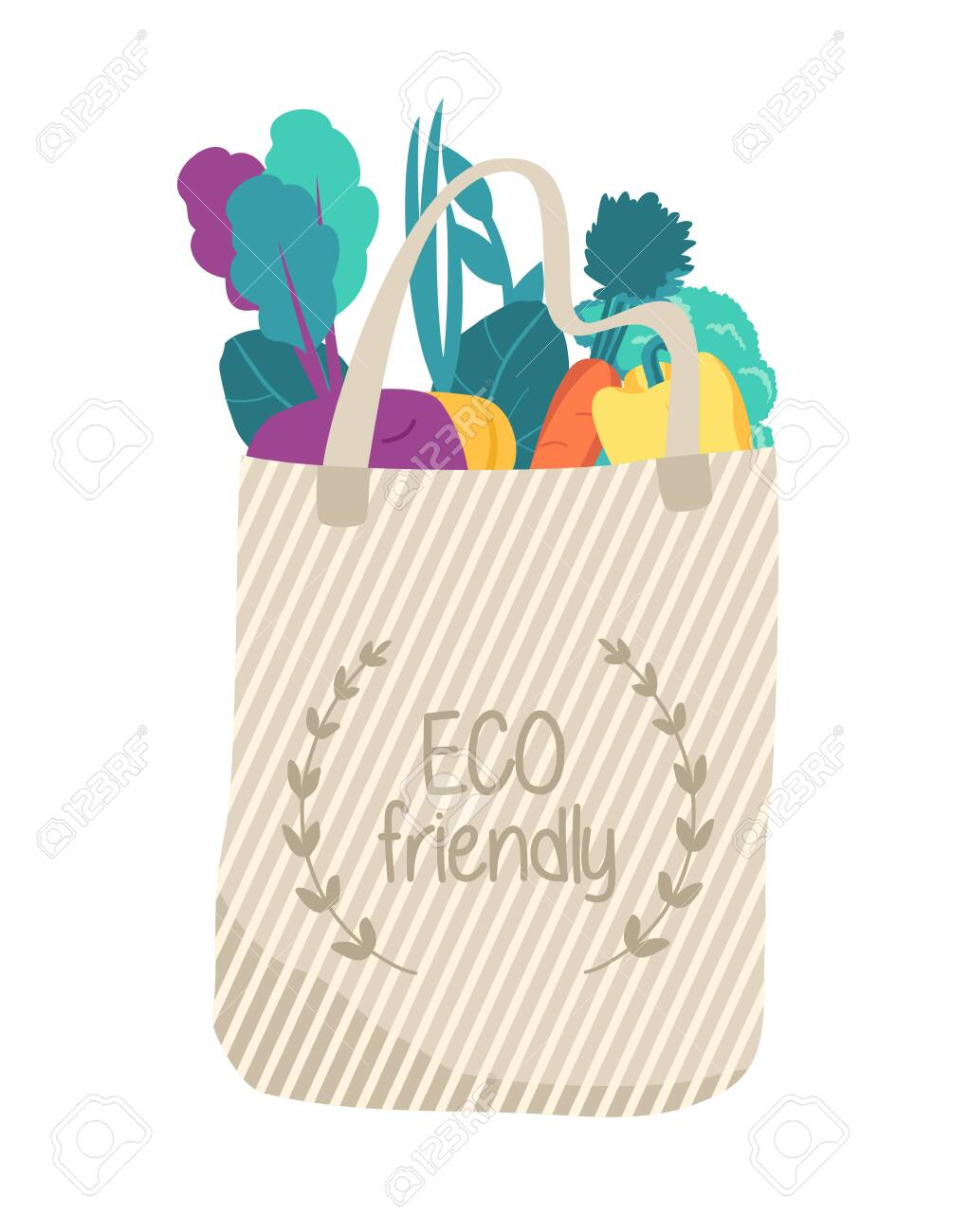 Biege eco bag with organic food. Reusable. - 140409798