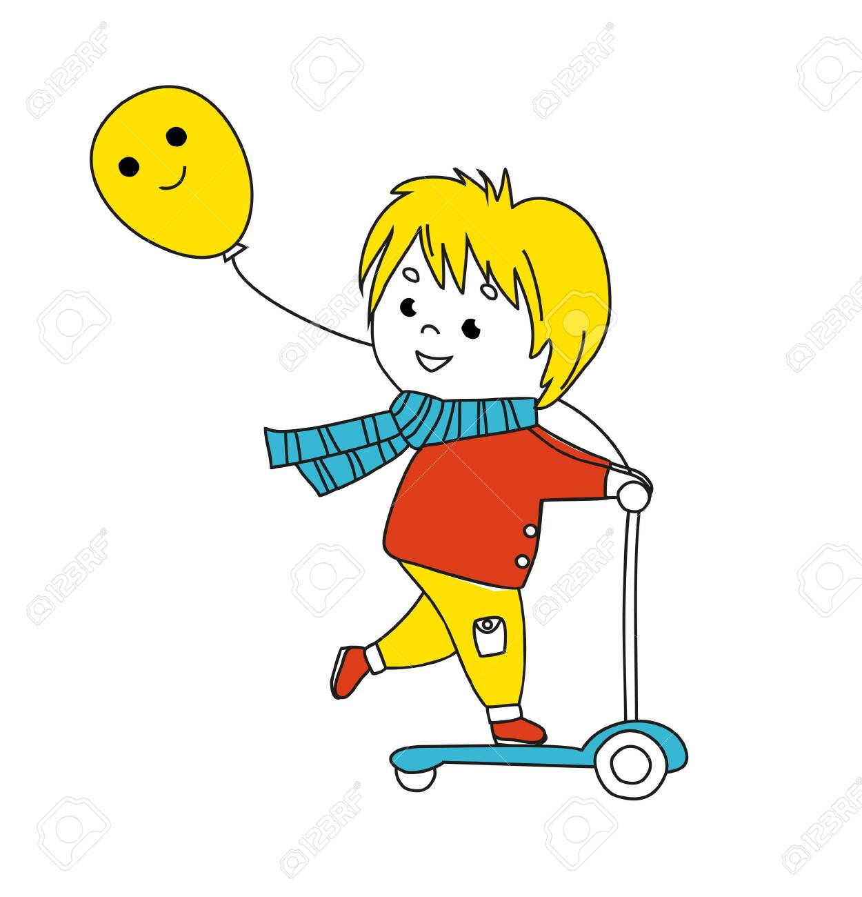 Smiling little boy on kick scooter. Funny colorful Illustration. Vector - 140409796