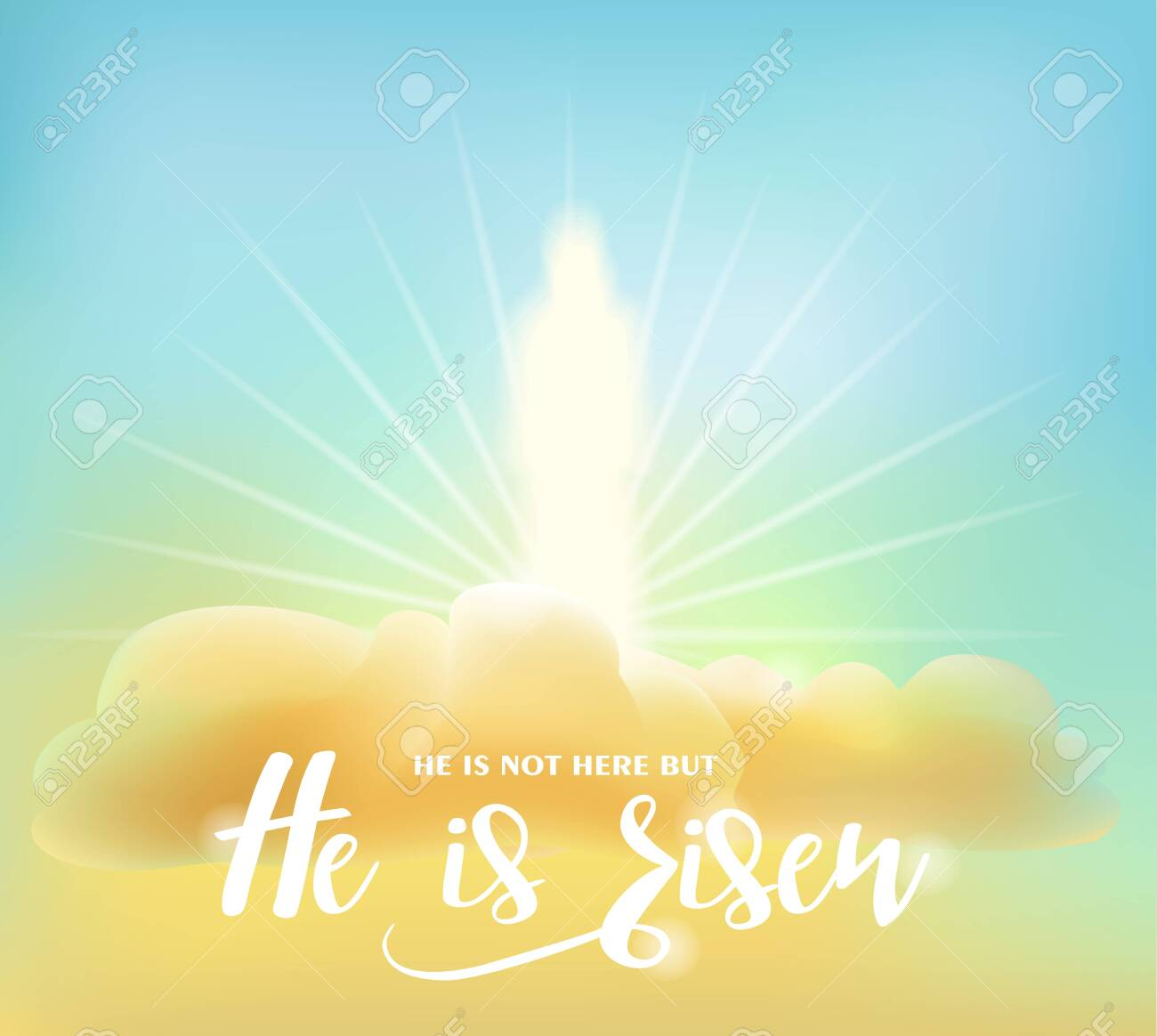 Easter card. Glowing figure of Christ on clouds in the morning sky. Text: He is not here but He is risen. Vector illustration - 144783343
