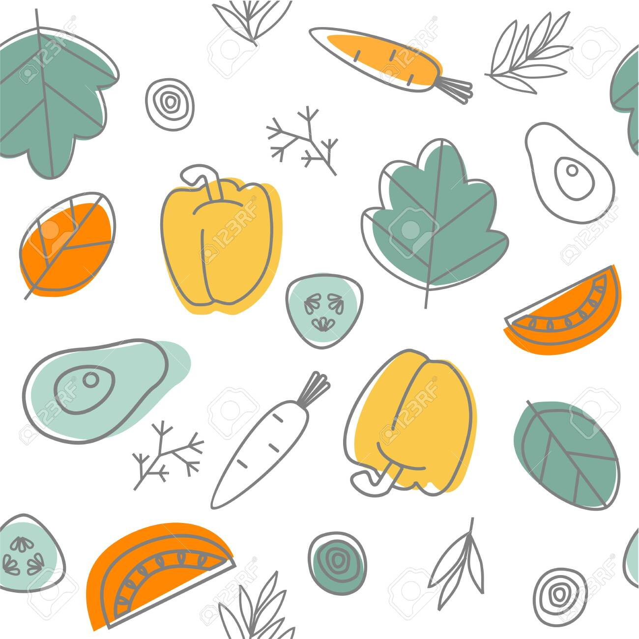 Seamless vegetables background. Doodle pattern. Healthy food. Vector - 151386535