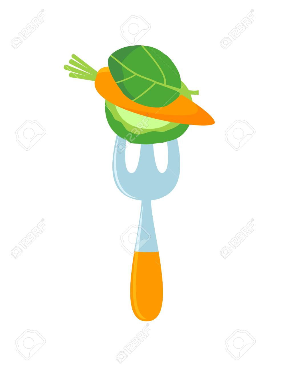 Cartoon fork with vegetables on it. Raw food logo. Vector - 151386536