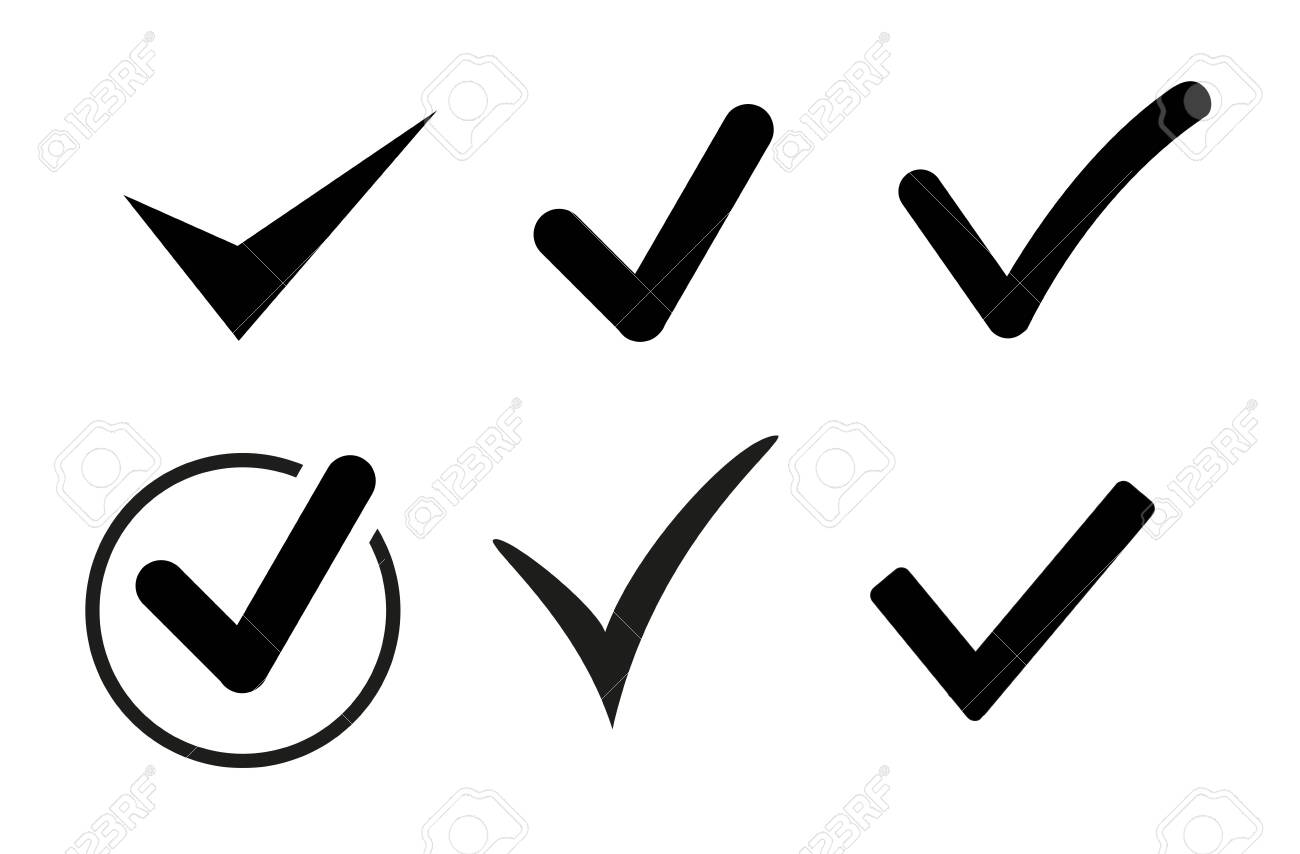 Set of black check mark icons. Vector - 152677706