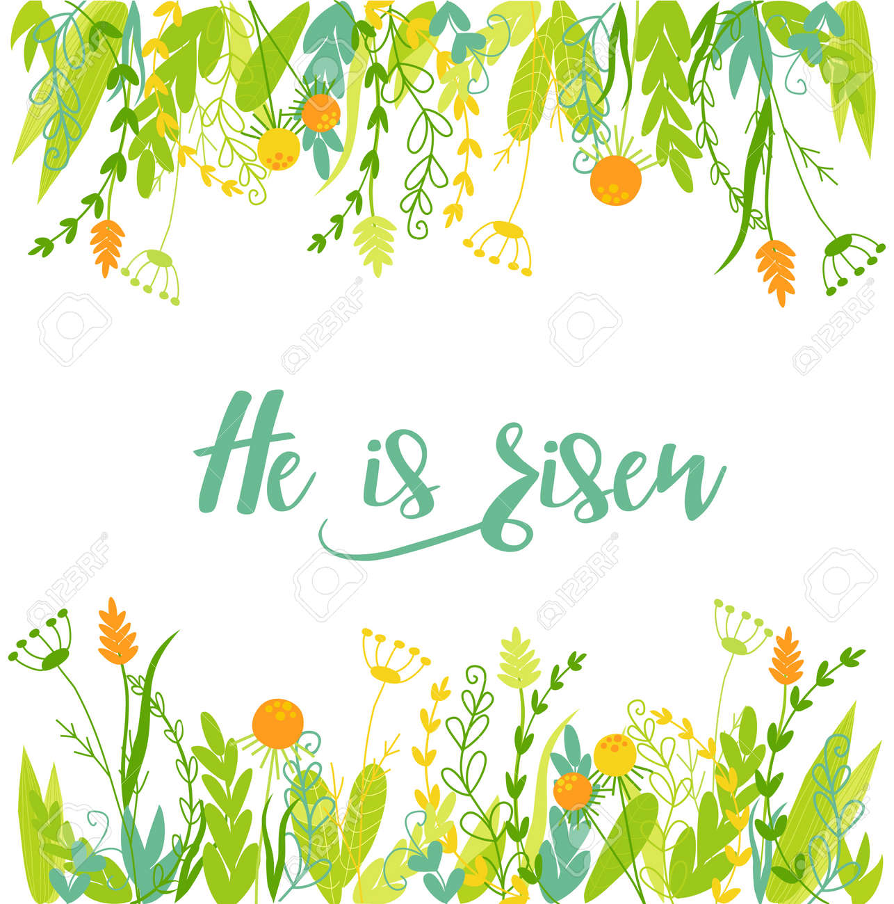 Easter christian card with flowers and text. - 158422163