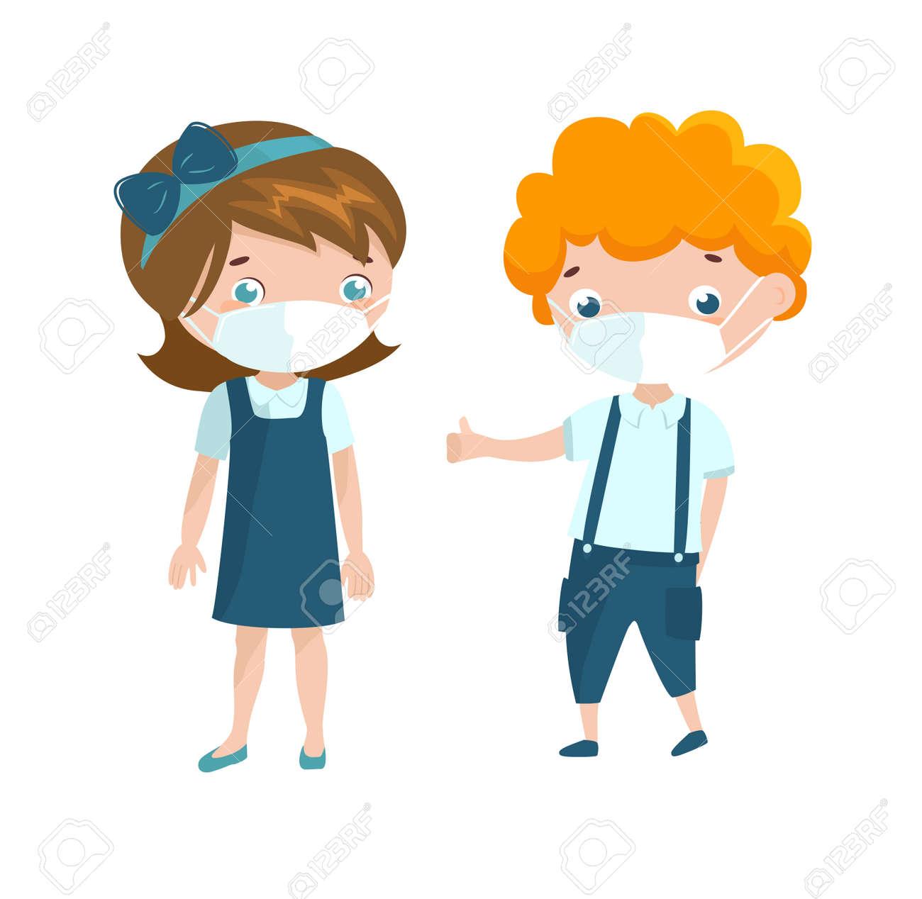 Two preschool kids wearing face mask. - 159257073