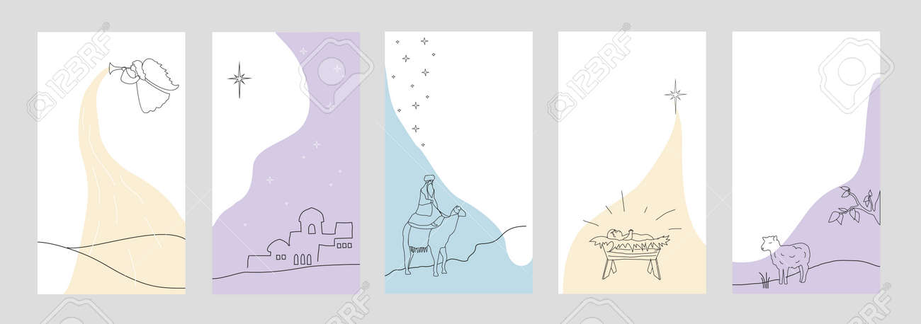 Set of christmas backgrounds for social networks stories. Vector - 159549735