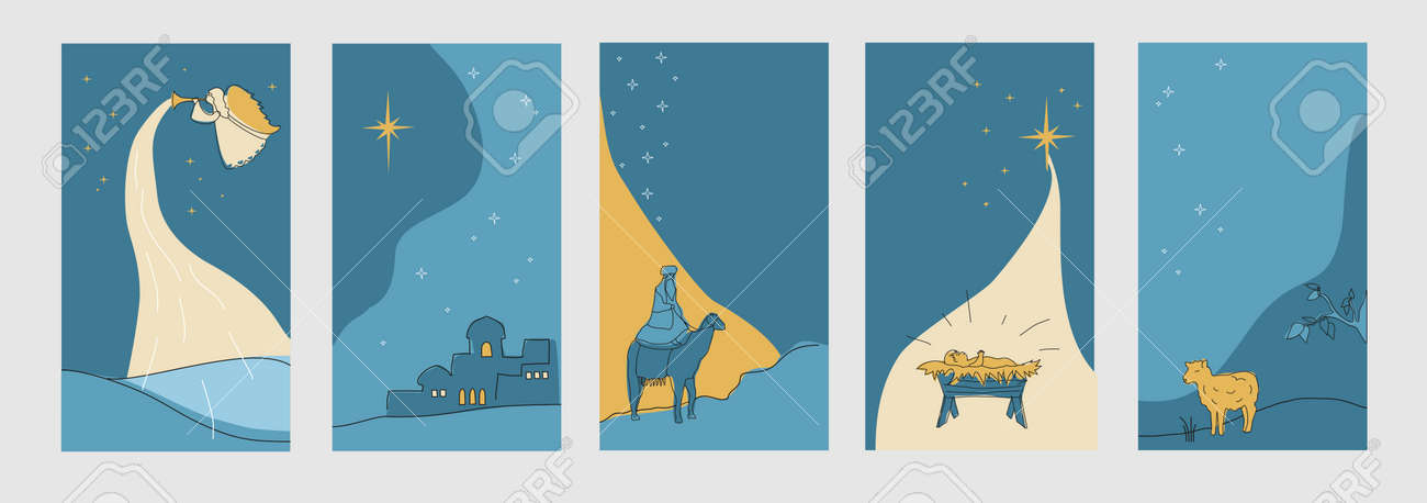 Set of christmas cards for social networks stories. Vector - 160695390
