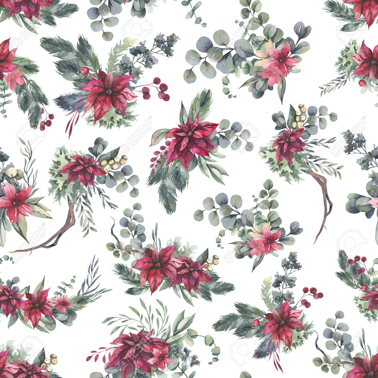 Watercolor floral pattern with different leaves and flowers. Floral seamless pattern on black background. High quality illustration - 156125634