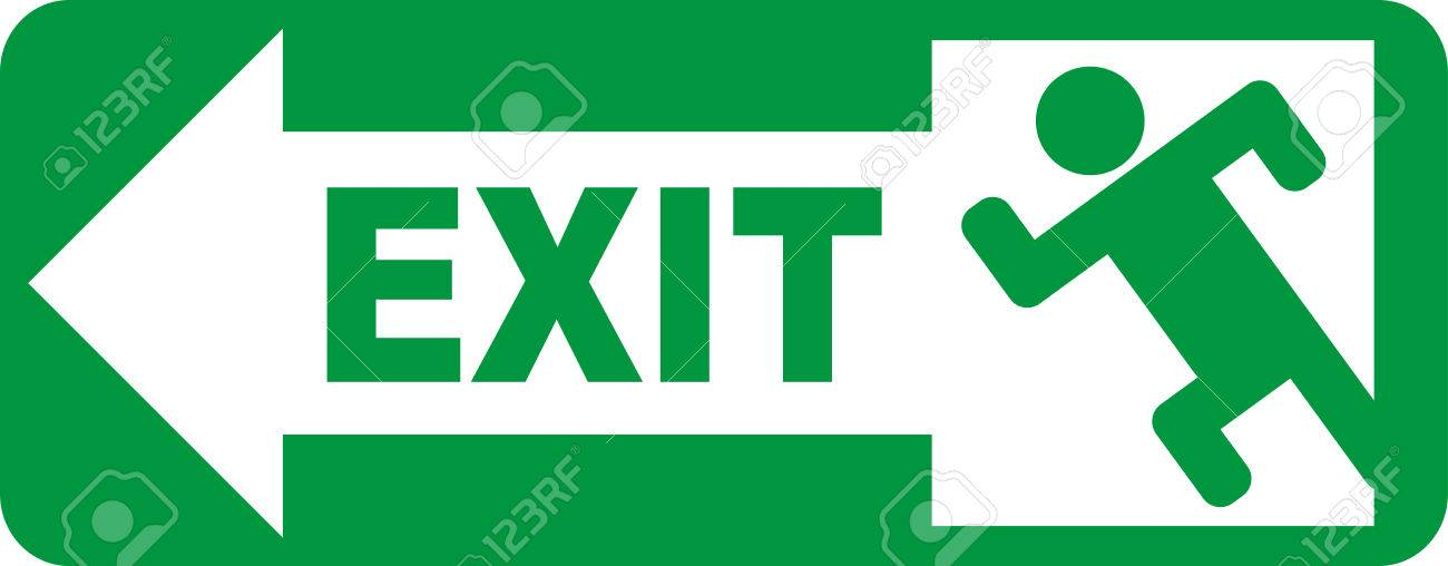 emergency exit sign vector illustration royalty free cliparts