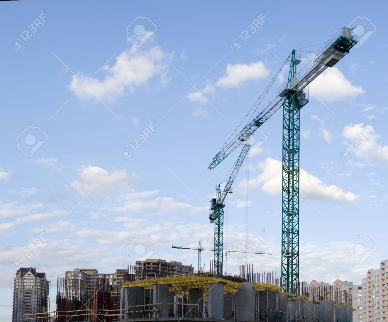 Building of new apartment houses in Kyiv - the capital city of Ukraine Stock Photo - 3873766