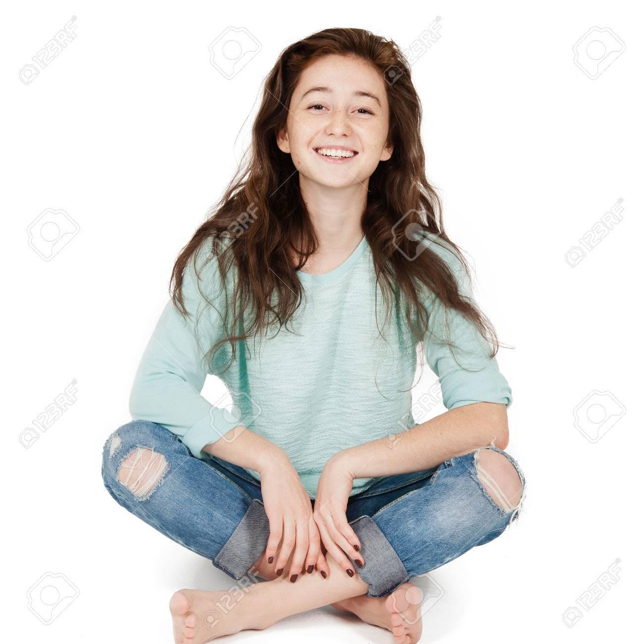 Nett Teenager Mädchen 17 18 Jahre Isoliert Auf Einem Weißen