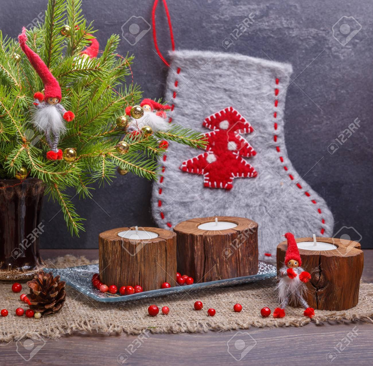 stock photo vintage christmas or new year composition with christmas tree wooden candles and gnomes rustic style - Vintage Christmas Pictures