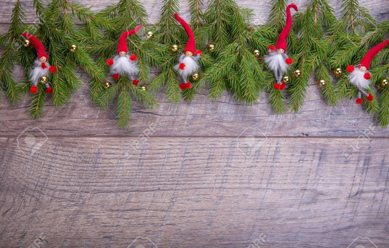 Christmas Gnome Decor.Christmas Fir Tree On Wooden Background Christmas Gnome Decor