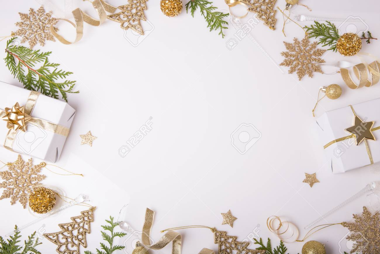 Christmas Holiday Composition. Festive Creative Golden Pattern ...