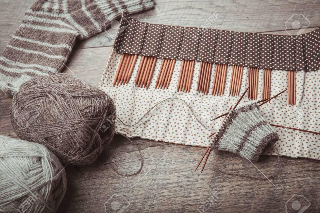 The Process Of Knitting Sock With Circular Bamboo Knitting Needles
