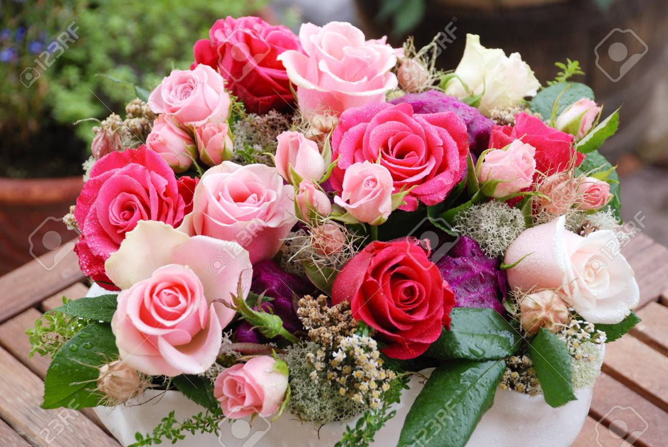 Luxury Bouquet Made Of Red White Pink Roses In Flower Shop Stock