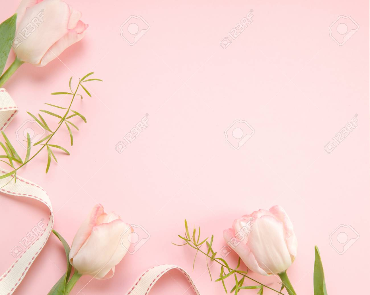 Festive Flower Pink Tulips Composition On The Light Pink Background