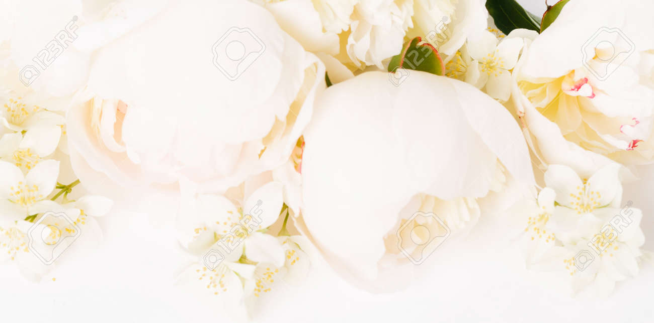 Beautiful aromatic fresh blossoming tender pink peonies texture, close up view. Romantic background - 164621388