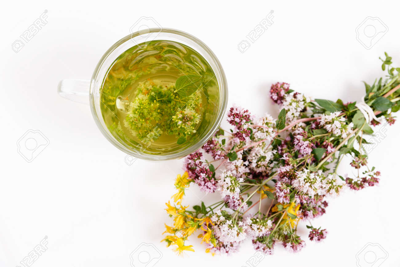 Glass cup of herbal tea with dry oregano flowers on white table background with copy space. Top view. Selective focus - 165140150