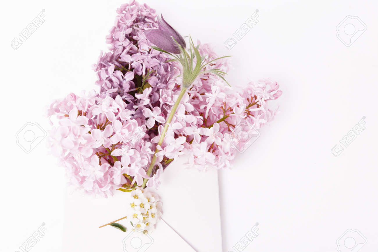 Lilac bouquet in a pink envelope, spring greetings on white background. Flat lay, top view - 165440212
