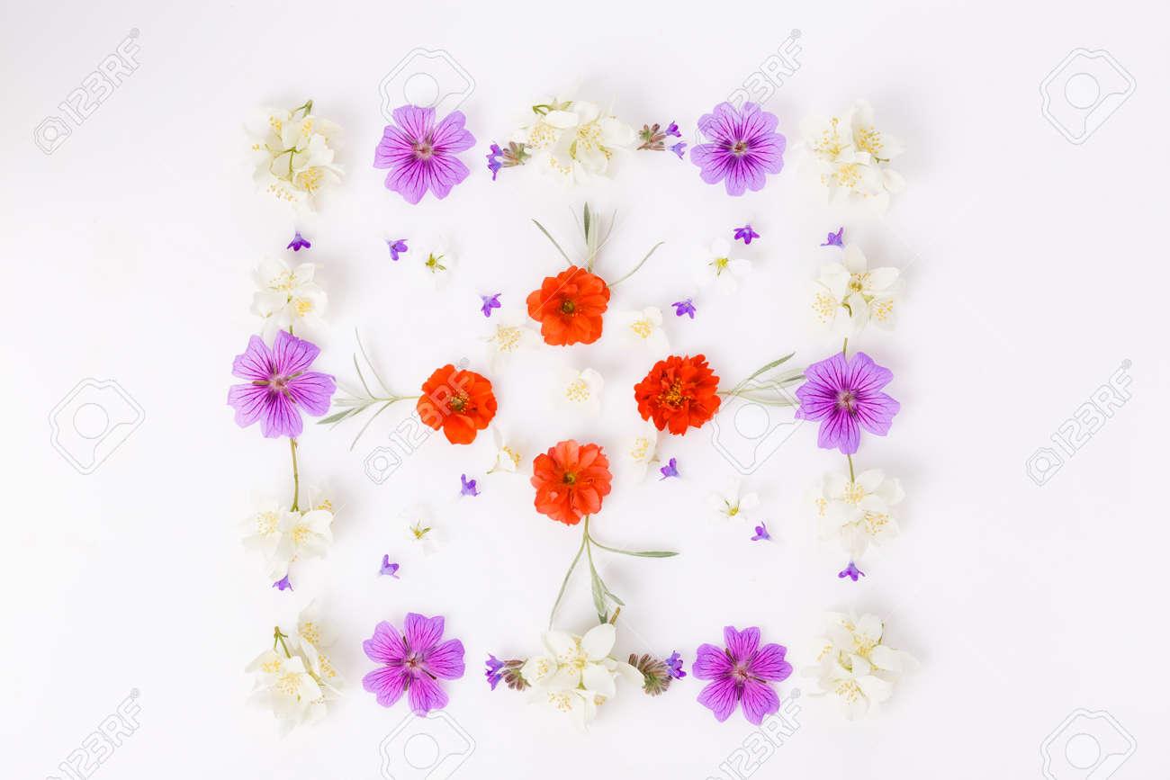 Spring frame of small flowers , floral arrangement - 165500594